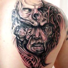 Horror Face Skull Tattoo Idea