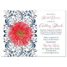 Coral gerbera daisy and navy blue floral bridal shower invitation. This coral gerber daisy wedding shower invite features an elegant navy blue floral design with a pretty coral daisy as an accent. The design also features a modern and elegant...