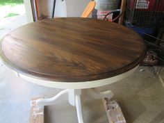 Oak pedestal table after - look at that beautiful wood grain!