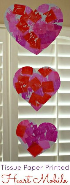 Valentine's Day Mobile with Tissue Paper Dyed Hearts - with water and tissue paper kids can create this beautiful mobile.