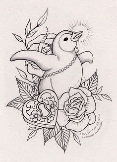 Classic Americana style penguin tattoo