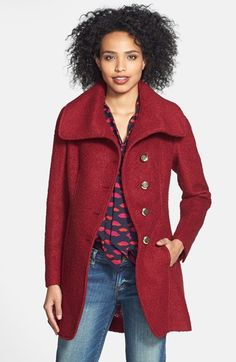 GUESS Cutaway Front Bouclé Coat (Regular & Petite) (Online Only) available at #Nordstrom