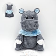 Amigurumi Patrón: Baby Kit - Hipopótamo Melman - Tarturumies Crochet Animal Patterns, Stuffed Animal Patterns, Amigurumi Patterns, Baby Patterns, Pattern Baby, Crochet Home, Crochet Yarn, Free Crochet, Crochet Hippo