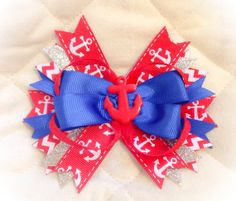 Red Anchor Away Stackable Hair Bow by BowTasticDiva on Etsy, $8.00