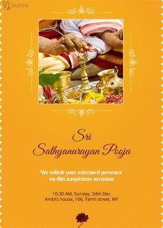 Satyanarayana Swamy Pooja Invitation Houswarming Pooja