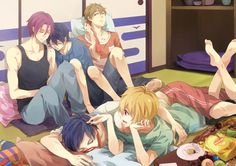 Free! Iwatobi Swim Club. Awe Rei fell asleep and  haruka fell asleep on rin They are so cute!!