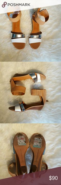 Rebecca Minkoff Sandals! Rebecca Minkoff Sandals! Perfect for summer!! Has one white and one silver strap over top of foot. Has very comfortable ankle strap with zip back.  Size 6M, but fits a 6.5. Never worn! Scuffs on bottom are from sale stickers. Some parts are real leather Rebecca Minkoff Shoes Sandals