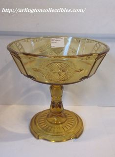 """EAPG Amber """"Medallion"""" pattern aka """"Spades"""" """"Hearts & Spades"""" Open Compote, probably made by US Glass circa 1890, 7.5""""H x 7.5""""D Amber Glass, Serving Bowls, Hearts, Pottery, Antiques, Tableware, Ebay, Ceramica, Antiquities"""