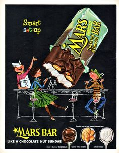 "MARS CANDY Child & Ice Cream Ad, ""Chocolate Nut Sundae"""