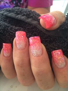 Two colour glitter fade in acrylic sculptured nails