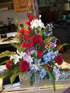 Patriotic flowers for a friends grave.