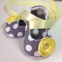 Gray & Yellow Flower Baby Ballerina Shoes.
