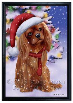 Winterland Wonderland Cavalier King Charles Spaniel Dog In Christmas Holiday Scenic Background Framed Canvas Print Wall Art Framed Canvas Prints, Canvas Frame, Wall Art Prints, Spaniel Dog, Spaniels, King Charles Spaniel, Cavalier King Charles, Corgi Dog, Dog Cat