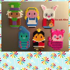 https://flic.kr/p/pUzbmD | Alice and friends | Refrigerator Perler Beads.