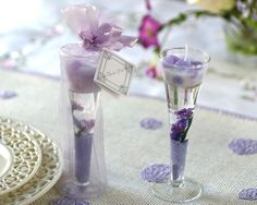 Beautiful lavender gel candle wedding favors.  See more DIY wedding favors at one-stop-party-ideas.com