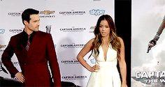 Chloe Bennet, Brett Dalton || Winter Soldier red carpet || 245px × 130px || #animated #cast #skyeward