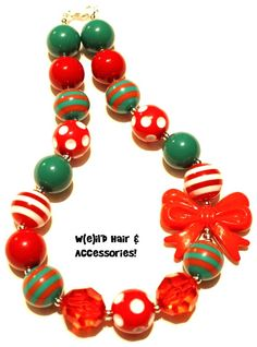 (SOLD) - Christmas - Xmas - Holiday - Joy - Tis the Season - Chunky Bubblegum Necklace - Photo prop - See more at www.facebook.com/WeildHair