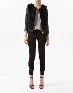 LEATHER AND FUR COMBINED JACKET - Blazers - Woman - New collection - ZARA Poland