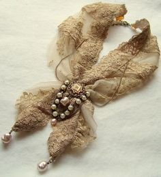 Pearl and lace necklace Scarf Necklace, Lace Necklace, Fabric Necklace, Lace Jewelry, Textile Jewelry, Fabric Jewelry, Jewelry Crafts, Jewelry Art, Antique Jewelry