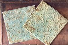 Set Vintage Inspired Green Tin Tile Reproduction Vintage | Etsy Tin Tile Backsplash, Tin Tiles, Tin Ceiling Tiles, Kitchen Wall Tiles, Antique Tiles, Or Antique, Look Vintage, Vintage Green, Fig Leaf Tree