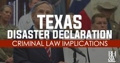 When the governor declares a state of disaster, Texas Penal Code Section operates to raise the offense classifications for several crimes in Texas. Criminal Law, Criminal Defense, Fort Worth, Texas