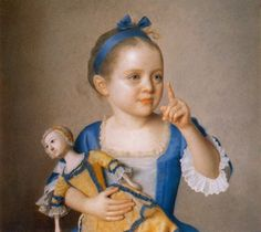 Girl with Doll, Daughter of the Painter and Godchild of Maria Theresa by Jean-Etienne Liotard, ca 1765
