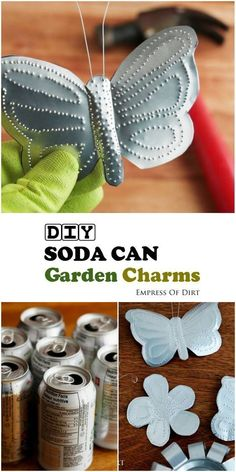 Turn empty soda cans into adorable garden charms! You've got lots of free craft materials in your recycle bin. See how to make these butterflies flowers birds bees plant tags and more with this easy tutorial. Soda Can Crafts, Crafts To Make, Fun Crafts, Crafts For Kids, Arts And Crafts, Kids Diy, Tin Can Art, Soda Can Art, Aluminum Can Crafts