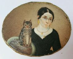Antique rare miniature portrait painting lady w/ cat watercolor Old Paintings, Paintings I Love, Miniature Portraits, Miniature Paintings, Old Portraits, Fractal, Art Watch, Photo Chat, Watercolor Cat
