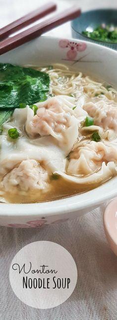 Cantonese Wonton Noodle Soup (with dried flounder) - Souper Diaries Noodle Recipes, Chili Recipes, Slow Cooker Recipes, Asian Recipes, Soup Recipes, Ethnic Recipes, Oriental Recipes, Asian Foods, Chinese Recipes