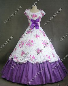 Southern Belle Civil War Cotton Floral Print Gown