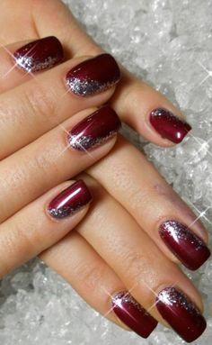christmas nails 102 festive and easy christmas nail art designs you… Xmas Nails, Holiday Nails, Fun Nails, Sparkle Nails, Simple Christmas Nails, Christmas Nails Glitter, Christmas Manicure, Purple Sparkle, Purple Art