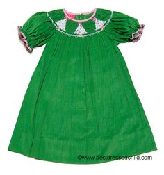 Claire & Charlie Girls Grass Green Corduroy Smocked White Christmas Trees BISHOP Dress