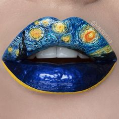 Art and cosmetic medicine have a lot in common. This is a repost of amazing work by photographer, makeup artist, model. Tribute to works of Vincent Van Gogh. Be passionate. Eye Makeup Art, Eye Art, Lip Makeup, Lipstick Designs, Makeup Designs, Lip Designs, Crazy Makeup, Cute Makeup, Lip Artwork