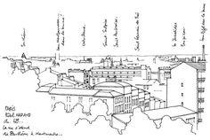 Paris, de l'hôtel... Drawing Sketches, Drawings, To My Daughter, Daughters, Urban Sketchers, Doodles, Diagram, Architecture, Sewing