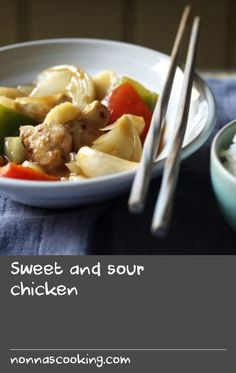 Sweet and sour chicken |      This is exactly like your favourite sweet and sour from the local down the road, but with fewer calories. Proves that a diet doesn't have to be all about denial.This meal without rice provides 288 kcal, 20g protein, 38g carbohydrate (of which 29g sugars), 7g fat (of which 1g saturates), 3g fibre and 0.1g salt per portion.