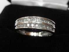1/2 CT Natural Two Row Diamond Wedding Band Channel Ring 14k White Gold Sz 5.75  #WithDiamonds