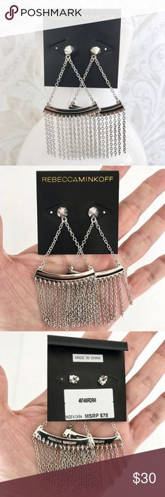 """NEW Rebecca Minkoff fringe statement earrings Cool and edgy. Silver tone (rhodium plated) and enamel. Post drop style with long fringe. About 4"""" long. New, never worn. Still on original card. No pouch or box. Rebecca Minkoff Jewelry Earrings"""
