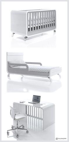 Cunas de diseño convertibles en cama junior y escritorio infantil. ¡El perfecto 3 en 1! No te pierdas detalle de su transformación.. Habitaciones infantiles únicas para bebés