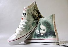 Joker Harley Quinn inspired custom shoe by PimpYourKicks on Etsy Custom Converse, Custom Shoes, Converse Shoes, Nike Shoes, Converse Chuck, Der Joker, Joker And Harley Quinn, Painted Sneakers, Painted Shoes