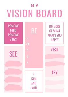 Vision Board Template, Digital Vision Board, Vision Board Ideas Diy, Law Of Attraction Planner, Goal Board, Creating A Vision Board, Goals Planner, Planer, Affirmations