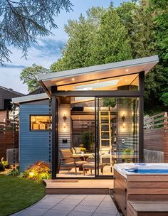 Modern Backyard Reading Shed With Skylights And Large Windows - The new backyard retreat was primarily designed as a reading space, hence the glass walls and skyli - Backyard Office, Backyard Studio, Modern Backyard, Backyard Retreat, Garden Office, Retreat House, Garden Modern, Backyard Cottage, Backyard Sheds