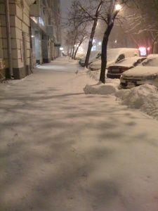 snowy night time
