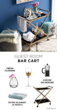 Summer is the season of travel and with it come overnight guests in your home. Make sure they have a comfortable stay without redoing a room. A bar cart can be used for a number of things, including extra storage in a guest room. Stock it with comforts of Navy Accent Walls, Kitchen Tops, Kitchen Ideas, Guest Bedrooms, Master Bedrooms, Do It Yourself Home, My New Room, Apartment Living, Living Room