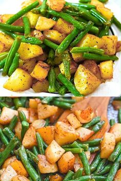 These Roasted Green Beans and Potatoes will make a great addition to your dinner table. Simple and delicious, it's the perfect side to add to any meal. Salmon Recipes, Lunch Recipes, Vegetable Recipes, Vegetarian Recipes, Dinner Recipes, Cooking Recipes, Healthy Recipes, Spicy Recipes, Copycat Recipes