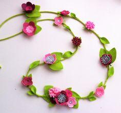Hand made wool blend felt flower garland in by cutzbothways