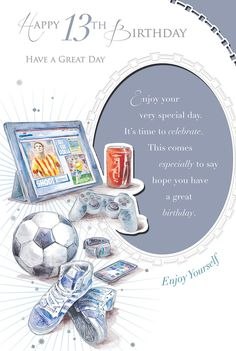 """Age 13 Male Birthday Card - 13 Today Trainers, Drink, Football & Tablet 9"""" x 6"""""""