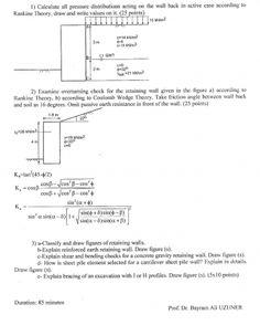 Zemin Mekaniği -2 Dersi 2.Vize Soruları ve Çözümleri