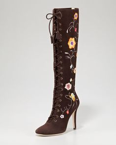 Corinna Floral-Embroidered Suede Boot by Jimmy Choo at Neiman Marcus.