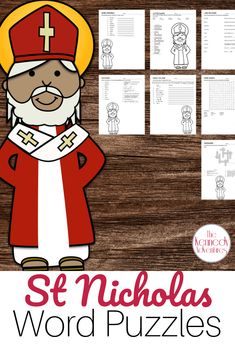 Ready to teach your students about our Catholic Saints? Don't miss these Catholic Saints Word Puzzles. Learn about St Nicholas with these fun no prep activities! #CatholicPrintables #CatholicSaints #CatholicHomeschool Catholic Homeschooling, Catholic Books, Catholic Kids, Catholic School, Catholic Saints, How To Teach Kids, Word Puzzles, Religious Education, Saint Nicholas