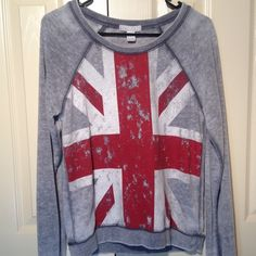 Union Jack British Flag Sweatshirt Collector's item distressed sweatshirt from Forever 21.  Trendy British flag design. Perfect condition. Size Small. No trades. Tops Sweatshirts & Hoodies